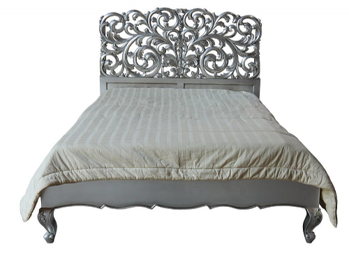 Louis Ornately Carved Silver Rococo Bed